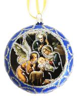 The Holy Family, Not Breakable Christmas  Ornament, Blue