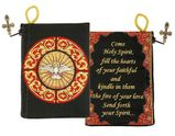 """""""Come Holy Spirit"""" Reversible Tapestry Pouch, Black/Red"""