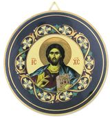 Christ The Teacher Round Ceramic Icon Decorated with 24kt Gold, Blue