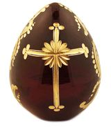Faberge Style Crystal Egg with Cross, Dark Red