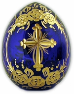 Cross/ Flowers/ Birds Faberge Style Crystal Egg