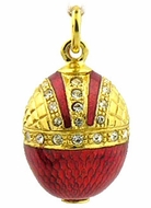 Crown Style Egg Pendant, Sterling Silver 925, Gold Plated, Red
