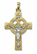 Crucifix Cross, Two Toned Gold 14 KT