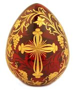 Faberge Style Crystal Egg with Cross and Flowers,  Red