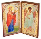 Diptych of Saint Anna  &  Guardian Angel, Gold / Silver Foiled