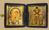 Diptych Wedding or Travel Orthodox Icons GOLD/SILVER