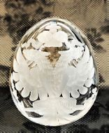 Double Headed Eagle, Faberge Style Crystal Clear Glass Egg
