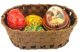 Easter Basket with 3 Wooden Pysanky  Eggs and Icon Egg