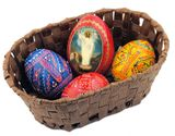Easter Basket with 3 Wooden Pysanky  Eggs and Icon Egg (Red)