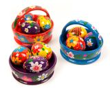 Floral Easter Basket with Colorful Easter Wooden Eggs, Hand Painted