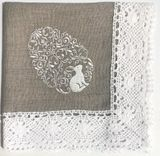 Easter Pascha Linen Basket Cover, Machine Embroidered with Lace