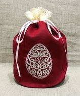 Pascha Kulich  Linen Bag Case, Machine Embroidered with Lace