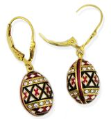 "Easter ""Pisanka"" Style Earrings,  Silver 925, Gold Plated, Enameled"