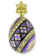"Easter ""Pisanka"" Style Egg Pendant, Silver 925, Gold Plated, Purple"