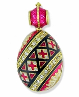 "Easter ""Pisanka"" Style Egg Pendant, Silver 925, Gold Plated,, Red"