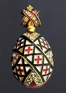 "Easter ""Pisanka"" Style Egg Pendant, Silver 925, Gold Plated, Red"