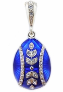 Egg Pendant, Faberge Style,  Hand Enameled, Sterling Silver 925