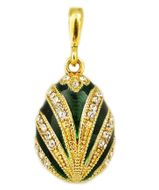 Egg Pendant, Faberge Style,  Sterling Silver 925,  Gold Gilded 18 KT