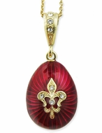 "Egg Pendant ""Fleur-de-lis"", Faberge Style, Sterling Silver 925, Gold Plated"