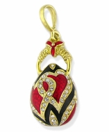 "Egg Pendant ""Hearts"" Design,  Silver 925, Gold Finish"