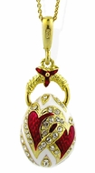 "Egg Pendant ""Hearts"" Design with Chain, Sterling Silver 925, Gold Finish"