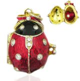 "Egg Locket Pendant  ""Lady Bug"" with Heart, Sterling Silver, Gold Plated"