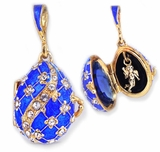 Egg Pendant Locket  with Angel, Sterling Silver, Gold Gilded, Blue