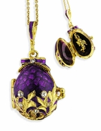 Egg Pendant Locket  with Angel, Sterling Silver, Gold Gilded, Purple