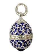 Tiny Enameled Egg Pendant , Sterling Silver, Blue Enamel