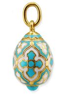 Tiny Egg Pendant  with Cross,  Silver, Gold Gilded,  Turquoise