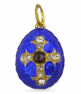 Egg Pendant  with Cross,  Silver/Gold Plated /Garnet Stone, Blue