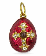 Egg Pendant  with Cross,  Silver/Gold Plated /Garnet Stone, Red