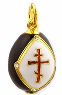 Egg Pendant with Three Barred Cross, Sterling Silver 925, Gold Plated, Black