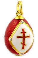 Egg Pendant with Three Barred Cross, Sterling Silver 925, Gold Plated, Red