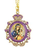 Virgin Mary Eternal Bloom, Enamel Framed Icon Pendant w/Chain & Bow