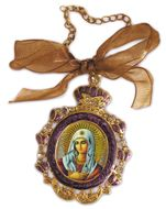 Virgin Mary Extreme Humility, Enamel Framed Icon Pendant With Chain & Bow