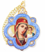 Virgin of Kazan, Faberge Inspired Enamel Framed Icon Ornament