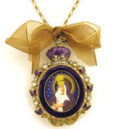 Enamel Framed Icon Pendant Virgin of Ostrobramska