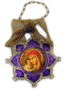 Enamel Framed Virgin Mary  Icon Pendant, Faberge Style - IF-3pv-05