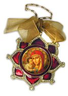 Enamel Framed Virgin  Mary Icon Pendant, Faberge Style - IF-3rv-05