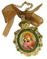 Enamel Framed Virgin  Mary Icon Pendant With Chain & Bow IF-1GV-26