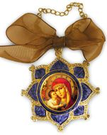 Enamel Framed Virgin  Mary Icon Pendant With Chain & Bow