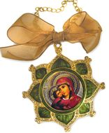 Enamel Framed Virgin Mary  Icon Pendant With Chain & Bow, IF-3GV-01