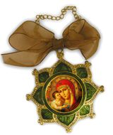 Enamel Framed Virgin  Mary Icon Pendant With Chain & Bow - IF-3GV-05