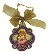Enamel Framed Virgin  Mary Icon Pendant With Chain & Bow, IF-4PV-17