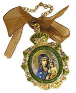 Enamel Framed Virgin Mary the Eternal Bloom, Icon Pendant With Chain & Bow