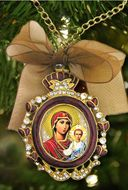 Virgin Mary of Smolensk, Enamel Framed   Icon Ornament With Chain & Bow