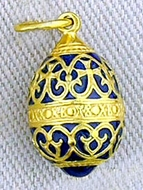 Tiny  Enameled Egg Pendant, Sterling Silver,  Gold Plated,   Blue