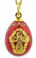 Enameled Egg Pendant, Sterling Silver 925, 22KT Gold Plated,  with Chain