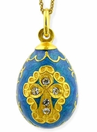 Enameled Egg Pendant, Sterling Silver, Gold Plated,  with Chain, Blue